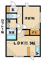 マイコート稲城館II 2階1LDKの間取り