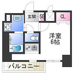 スプランディッド難波元町DUE 12階ワンルームの間取り