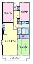 大阪府羽曳野市伊賀5丁目の賃貸マンションの間取り