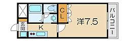 滋賀県東近江市札の辻2丁目の賃貸マンションの間取り