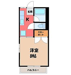 栃木県宇都宮市越戸町の賃貸アパートの間取り