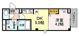 メゾン二長町 4階1DKの間取り
