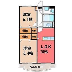栃木県栃木市城内町2丁目の賃貸アパートの間取り