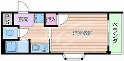 阪急千里線 吹田駅 徒歩10分の賃貸マンション 3階1Kの間取り