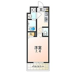 レオンヴァリエ大阪ベイシティ 9階1Kの間取り