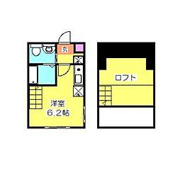 ハーミットクラブハウス大倉山II B棟[105号室]の間取り