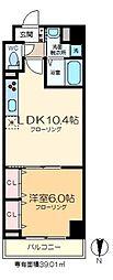 サンセリテ東京 8階1LDKの間取り