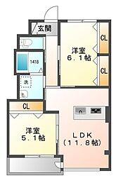 埼玉県八潮市大瀬3丁目の賃貸マンションの間取り