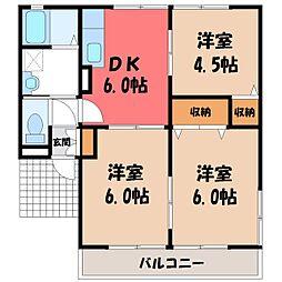 栃木県真岡市熊倉1の賃貸アパートの間取り