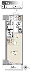 都営大江戸線 両国駅 徒歩8分の賃貸マンション 2階1Kの間取り