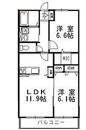 岡山県倉敷市神田2の賃貸アパートの間取り