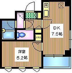 I-Space中目黒 2階1DKの間取り