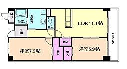 兵庫県川西市鼓が滝2丁目の賃貸マンションの間取り