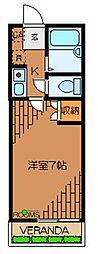 東京都世田谷区松原6丁目の賃貸アパートの間取り