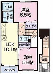 静岡県袋井市愛野南2丁目の賃貸アパートの間取り