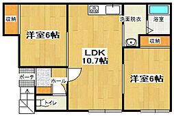 コーポササキ[1階]の間取り