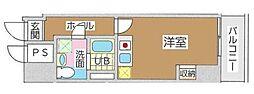 東京メトロ丸ノ内線 新宿御苑前駅 徒歩4分の賃貸マンション 4階ワンルームの間取り