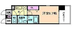 レジュールアッシュ淡路駅前 1階1Kの間取り