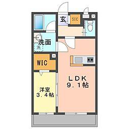 愛知環状鉄道 大門駅 徒歩8分の賃貸アパート 1階1LDKの間取り