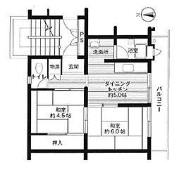ビレッジハウス広江 4号棟[208号室]の間取り