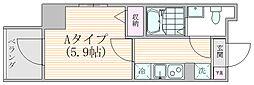 ザ・プレシャス武蔵小杉 6階1Kの間取り
