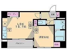 リベア東神田 6階1LDKの間取り