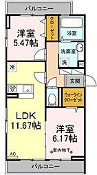 仮称D-room保木間1丁目 2階2LDKの間取り