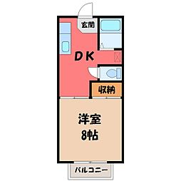 栃木県宇都宮市泉が丘1丁目の賃貸アパートの間取り