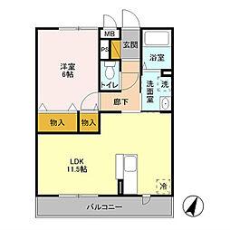 サンモールB[2階]の間取り