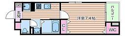 Osaka Metro御堂筋線 なんば駅 徒歩10分の賃貸マンション 1階1Kの間取り