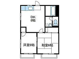 神奈川県座間市入谷3の賃貸アパートの間取り