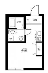 京急本線 井土ヶ谷駅 徒歩9分の賃貸アパート 2階ワンルームの間取り