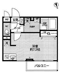 JR中央線 西荻窪駅 徒歩11分の賃貸マンション 2階ワンルームの間取り