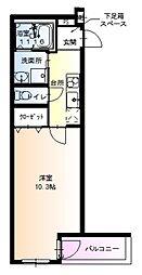 JR阪和線 鳳駅 徒歩8分の賃貸アパート 1階1Kの間取り