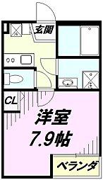 埼玉県所沢市向陽町の賃貸アパートの間取り