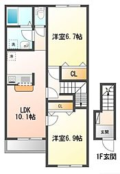 JR五日市線 武蔵引田駅 徒歩8分の賃貸アパート 2階2LDKの間取り