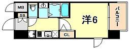 JR東海道・山陽本線 灘駅 徒歩14分の賃貸マンション 13階1Kの間取り