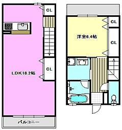 阪急京都本線 茨木市駅 徒歩5分の賃貸テラスハウス 1階1LDKの間取り