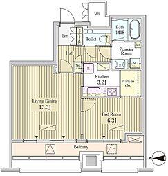 MOMENTO SHIODOME 16階1LDKの間取り