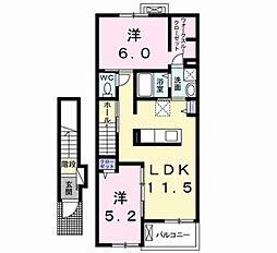埼玉県越谷市相模町5丁目の賃貸アパートの間取り