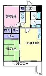 大阪府羽曳野市恵我之荘3丁目の賃貸マンションの間取り