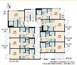 JR総武線 大久保駅 徒歩7分の賃貸アパート 2階ワンルームの間取り