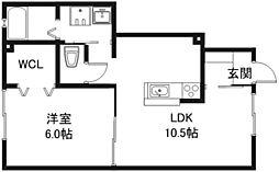 フラッツレディアンスA・B棟[1階]の間取り