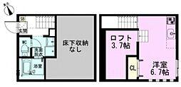 JR東北本線 東大宮駅 徒歩11分の賃貸アパート 1階ワンルームの間取り