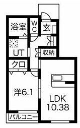 JR京浜東北・根岸線 大宮駅 バス11分 三橋二丁目南下車 徒歩3分の賃貸アパート 1階1LDKの間取り