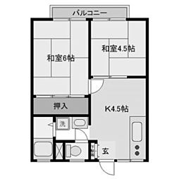 神奈川県川崎市多摩区生田1丁目の賃貸アパートの間取り