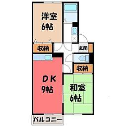 栃木県小山市若木町2丁目の賃貸アパートの間取り