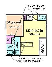 大阪府池田市井口堂2丁目の賃貸アパートの間取り