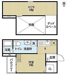 A・S・K StationII 1階1Kの間取り