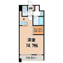 栃木県宇都宮市元今泉4丁目の賃貸マンションの間取り